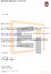 Bobby Hu Offer Letter - Dulwich